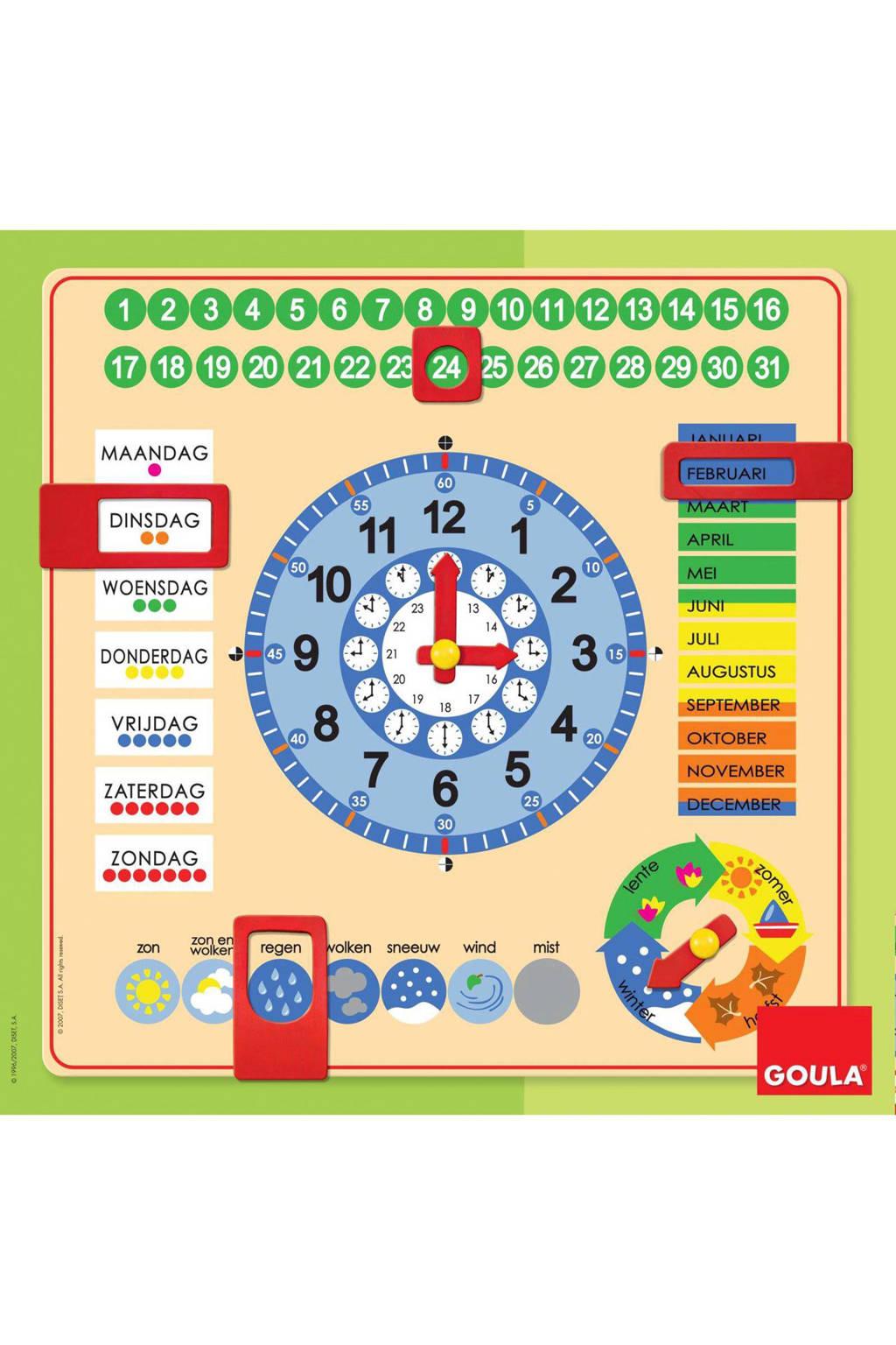 Goula houten kalenderklok