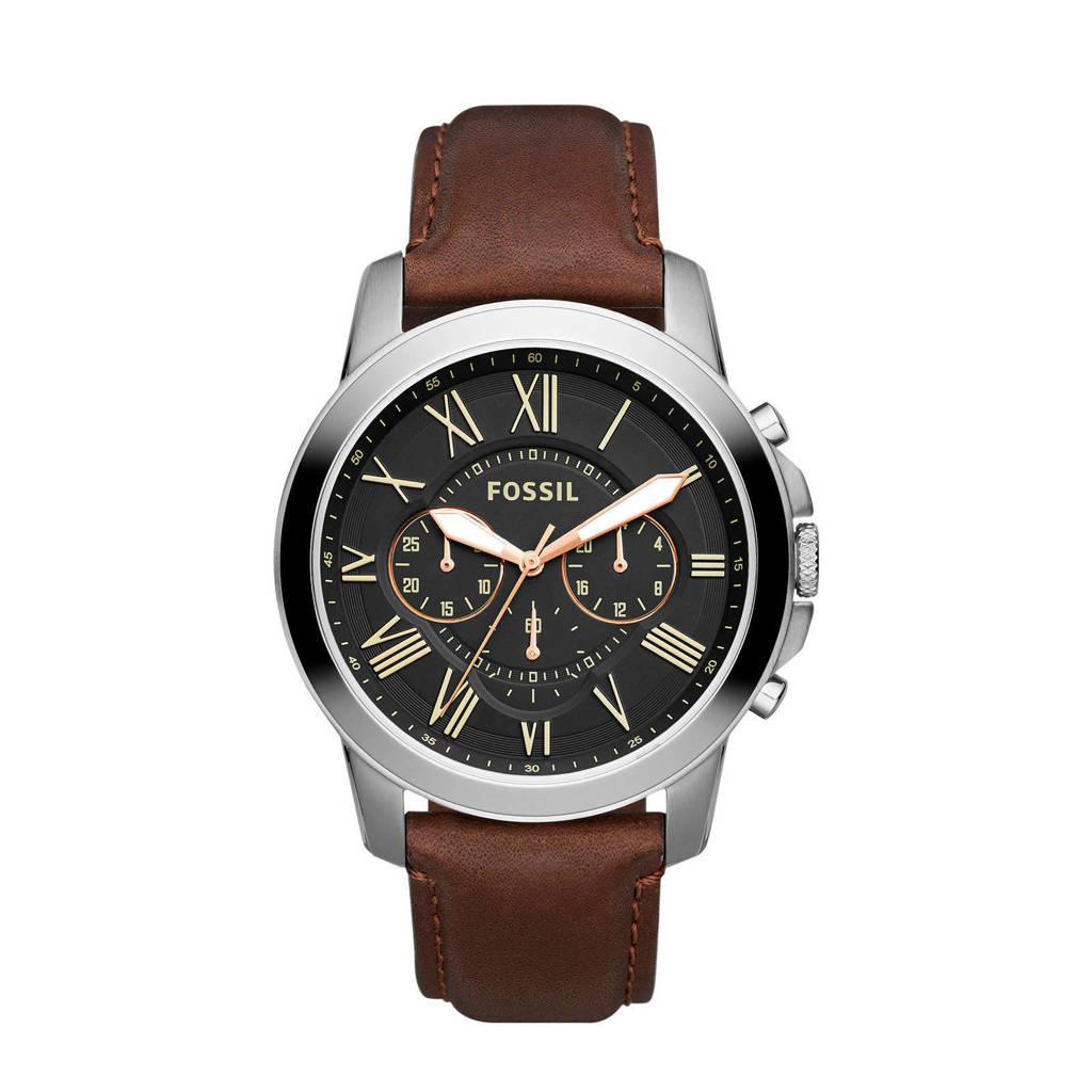 Fossil  horloge Grant FS4813IE zilverkleur/bruin, bruin/ zilver
