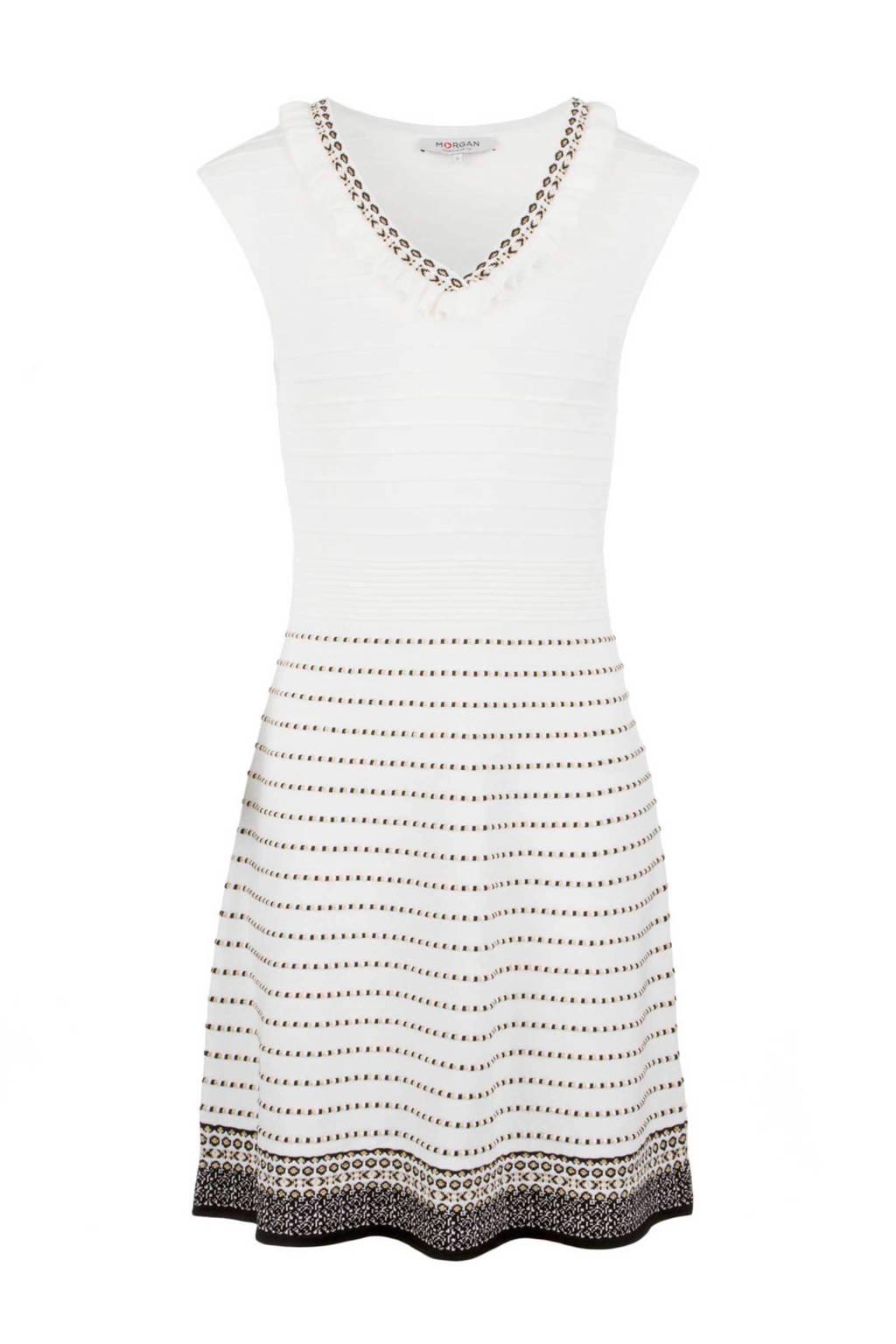 Morgan jurk, Gebroken wit/beige/zwart
