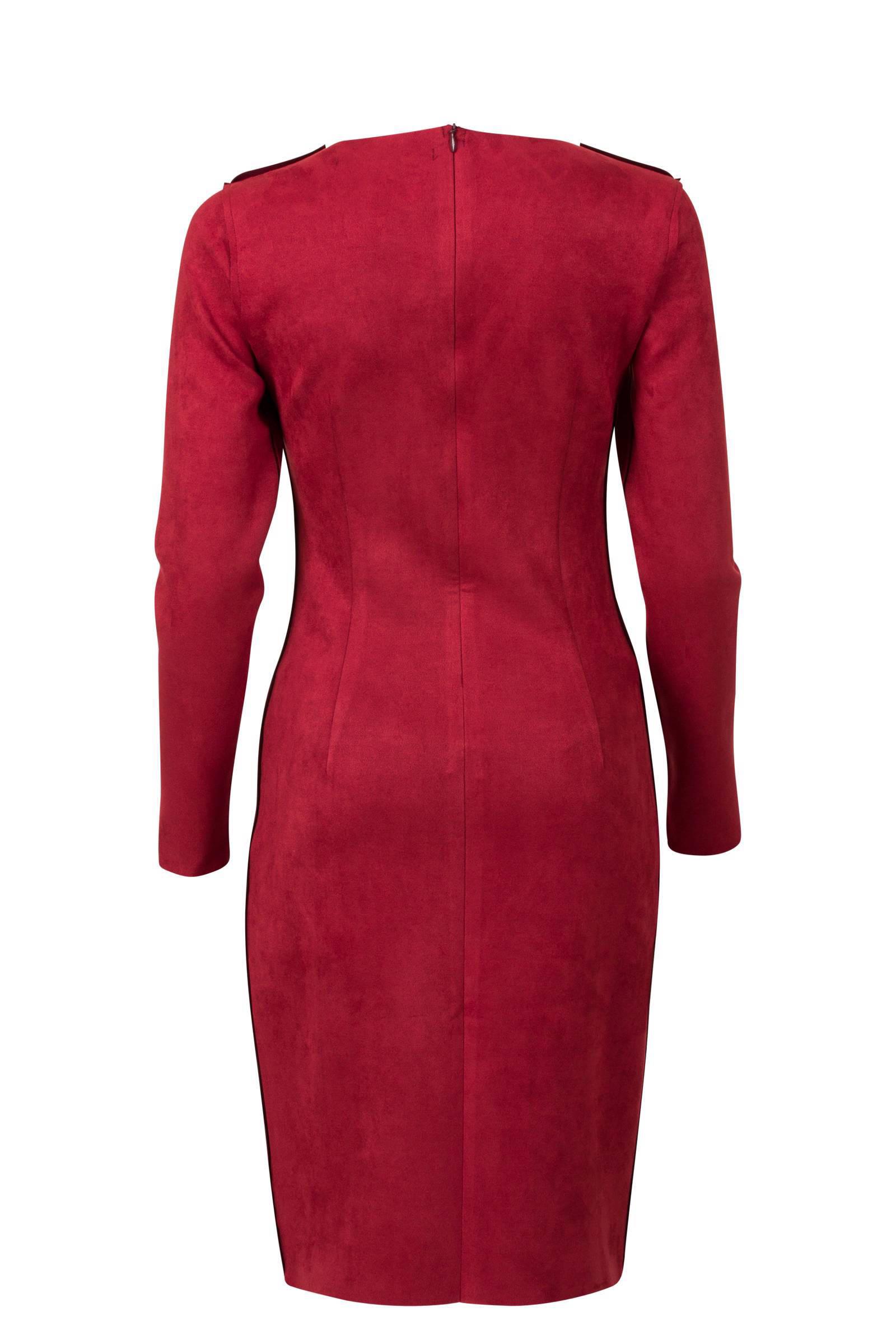 rode suede jurk
