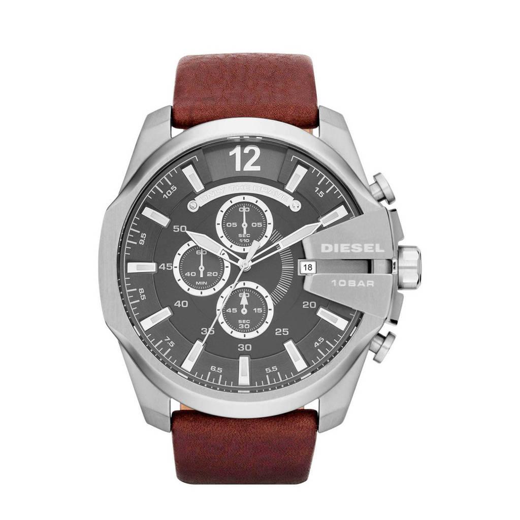 Diesel horloge Mega Chief  DZ4290 bruin/zilverkleur, bruin/ zilver