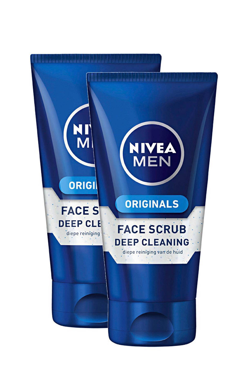 NIVEA FOR MEN Deep Cleaning gezichtsscrub (2 stuks)