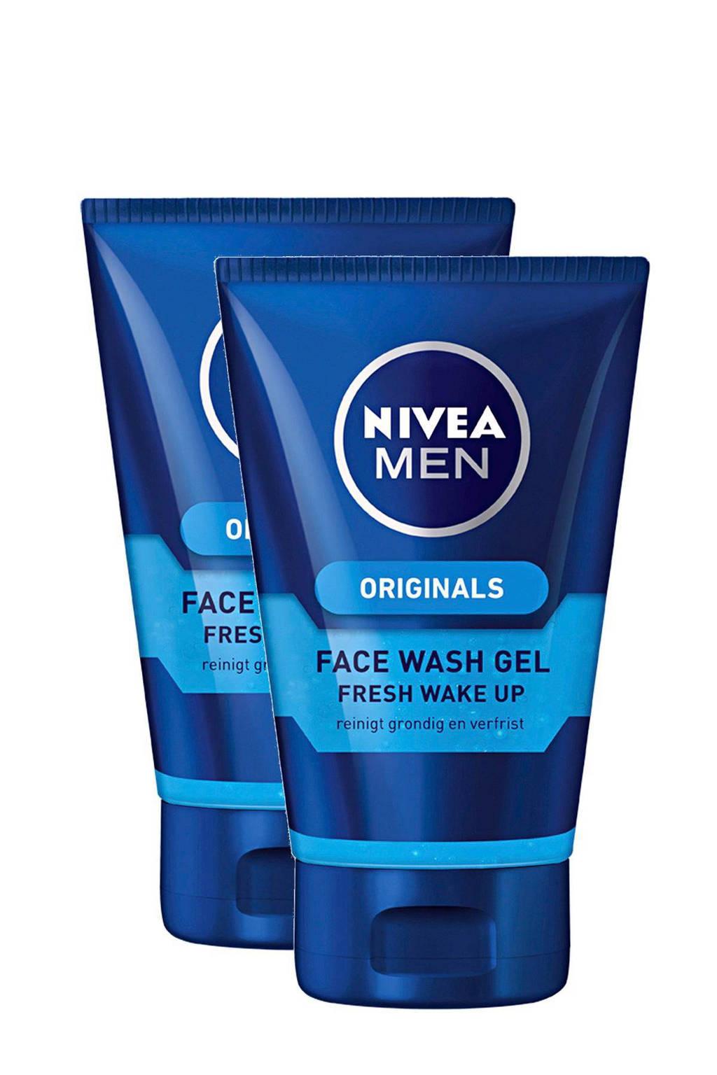 NIVEA FOR MEN Fresh Wake Me Up face wash (2 stuks)