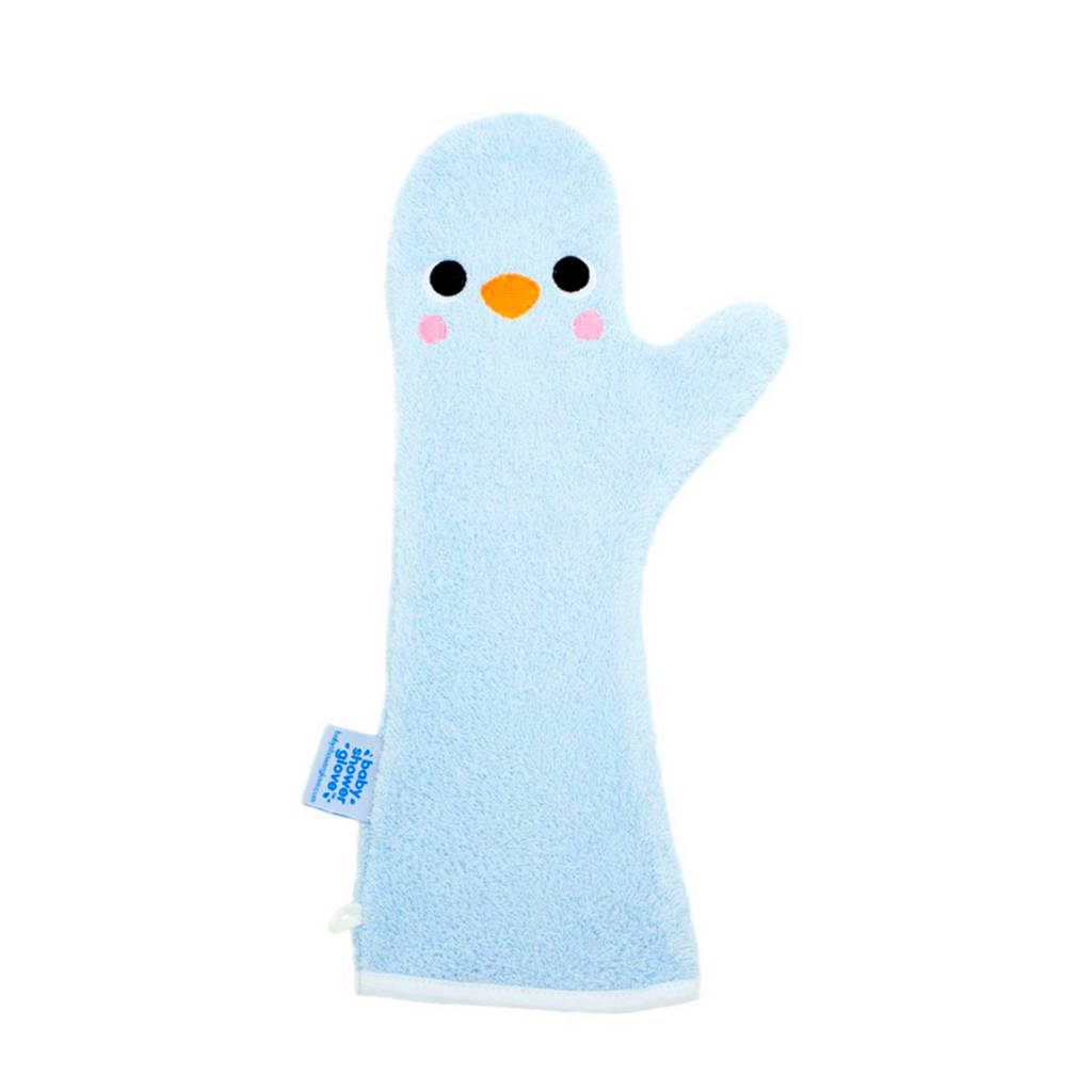 Invented 4 Kids baby shower glove blauwe pinguin, Blauwe pinguin