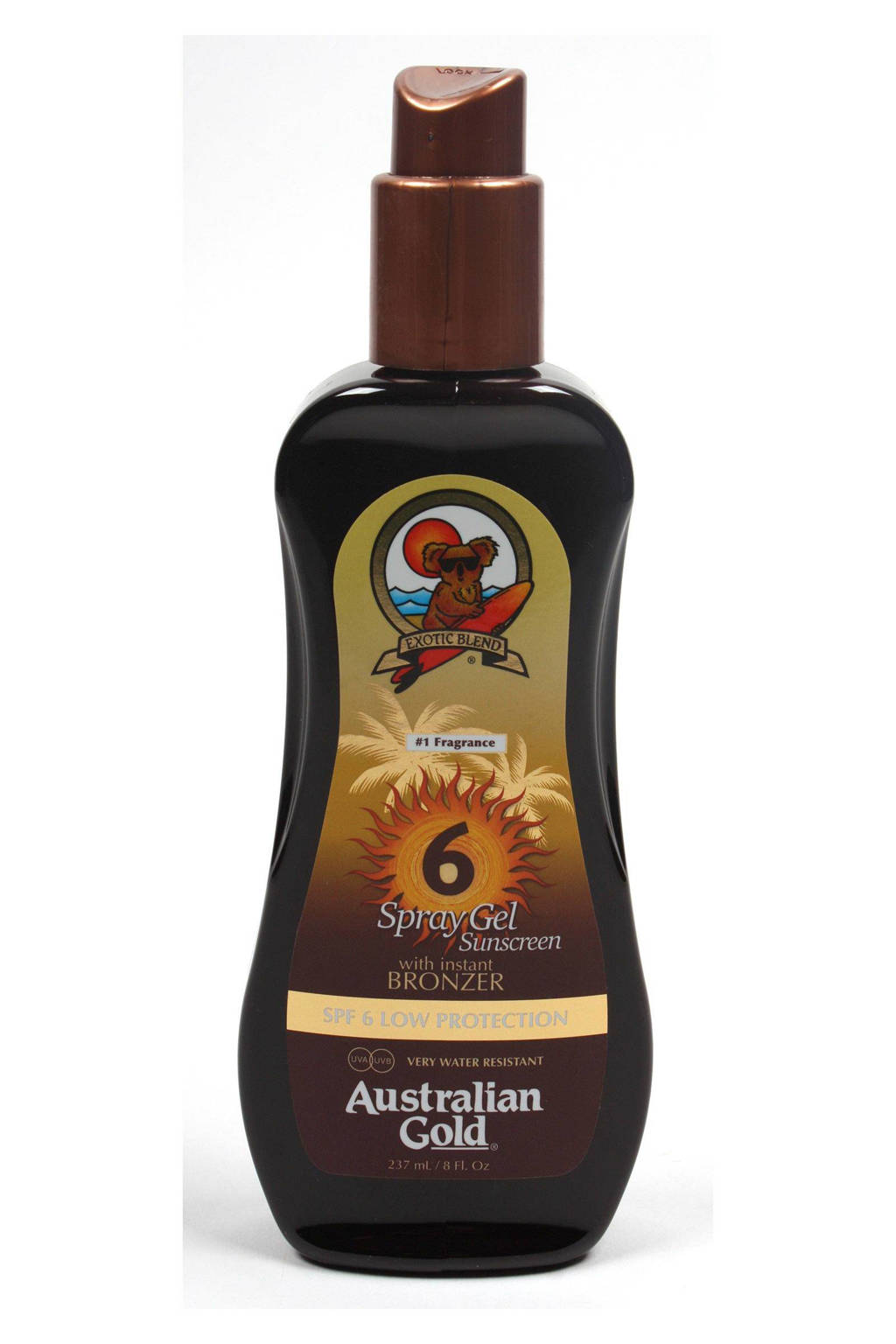 Australian Gold spray gel bronzer SPF 6 - 237 ml, Zonnefactor SPF 6