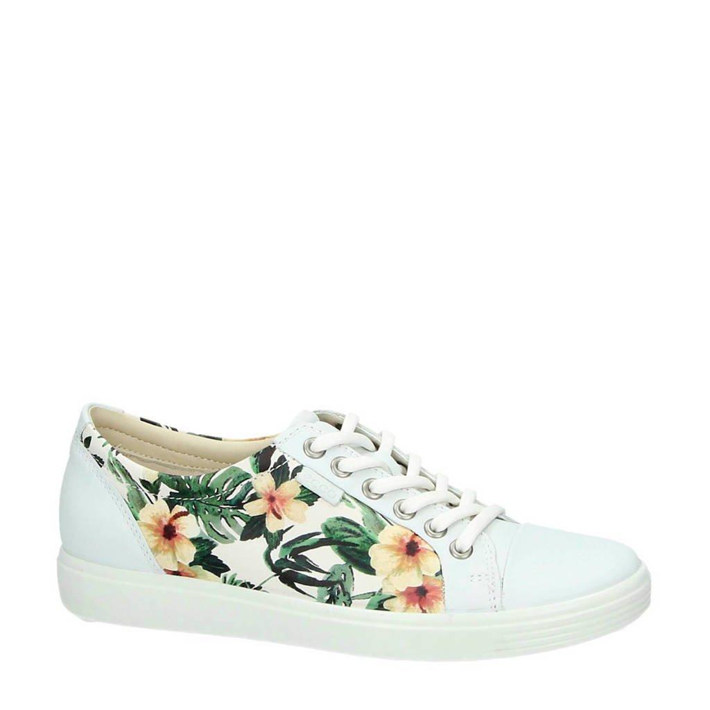 6a1110edb45 Ecco leren sneakers met bloemen, Wit/geel/donkergroen
