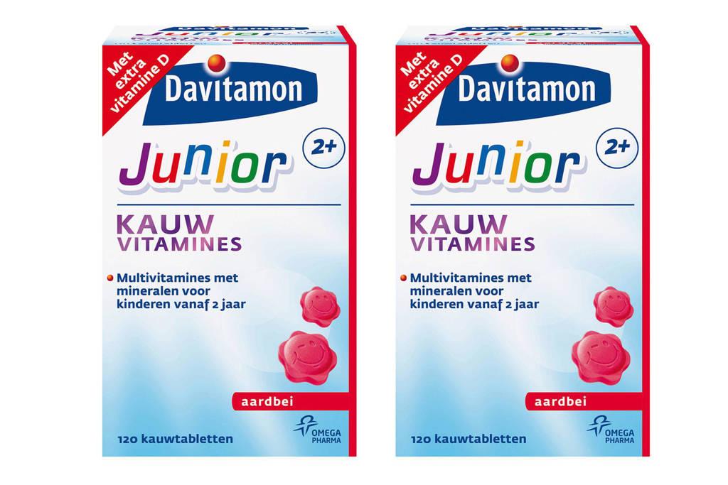 Davitamon Junior 2+ aardbei 2x 120 kauwtabletten, 240 stuks