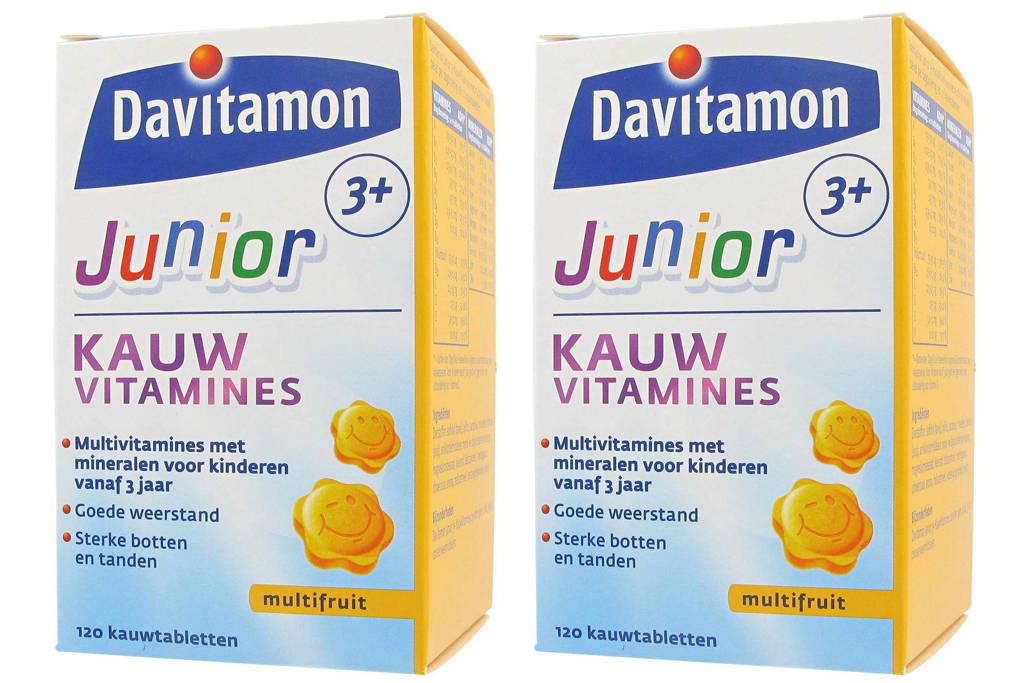 Davitamon Junior 3+ multifruit 2x 120 kauwtabletten, 240 stuks, Multifruit