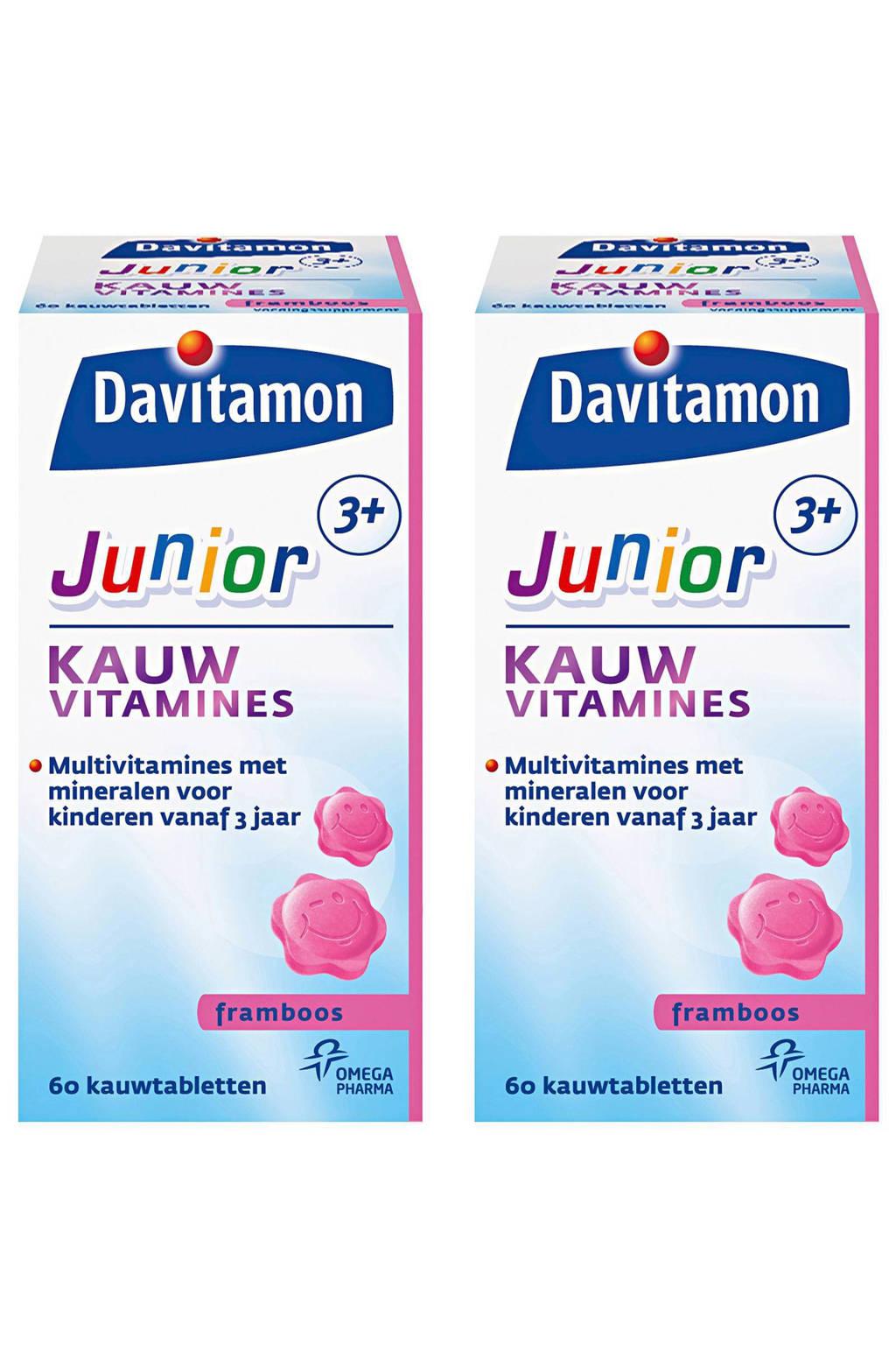 Davitamon Junior 3+ kauwtabletten - Framboos 2x 60 stuks