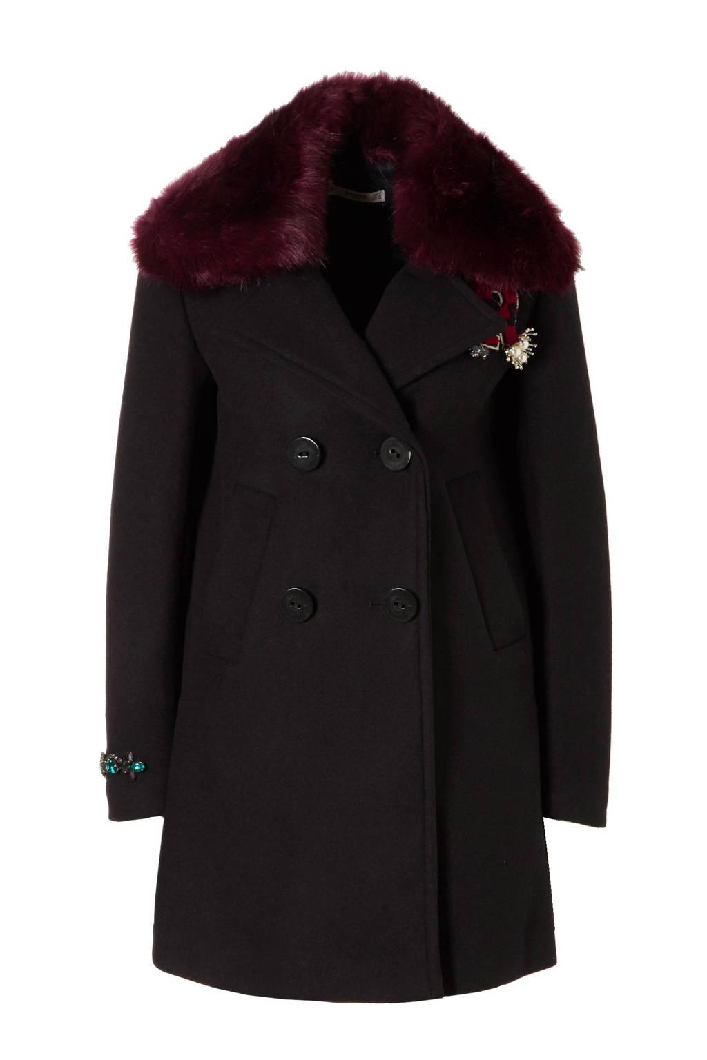 Mango coat met wol, Marineblauw