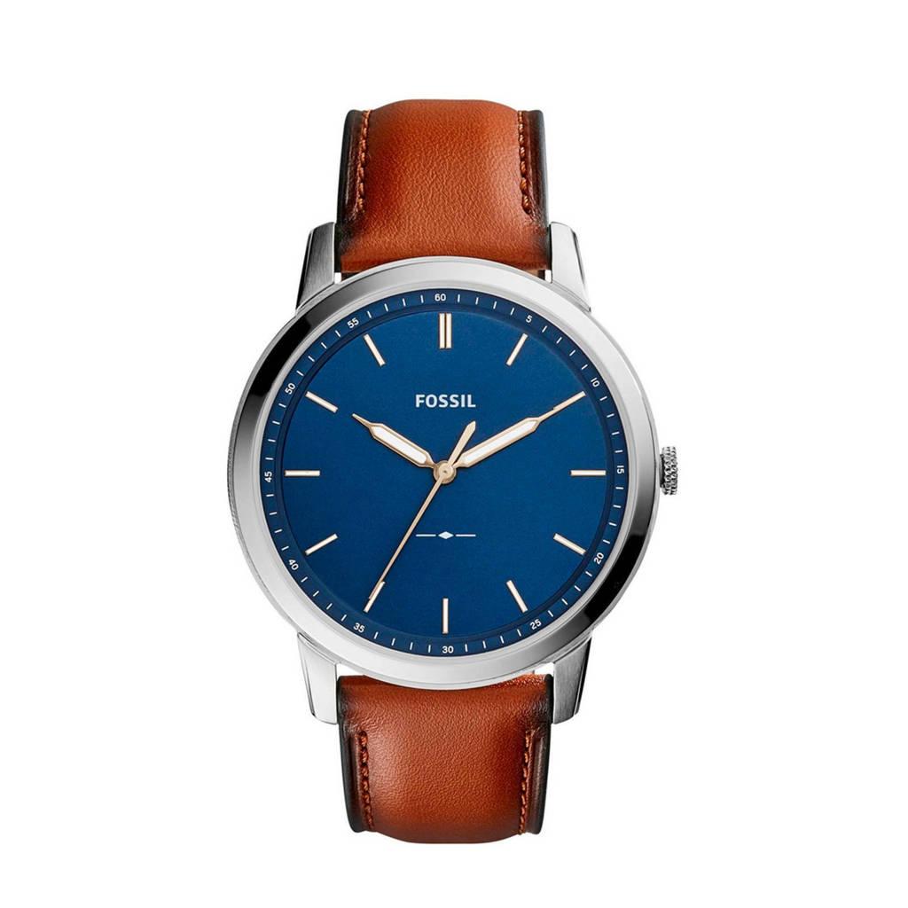 Fossil horloge The Minimalist 3HFS5304 zilverkleur/cognac, Zilver