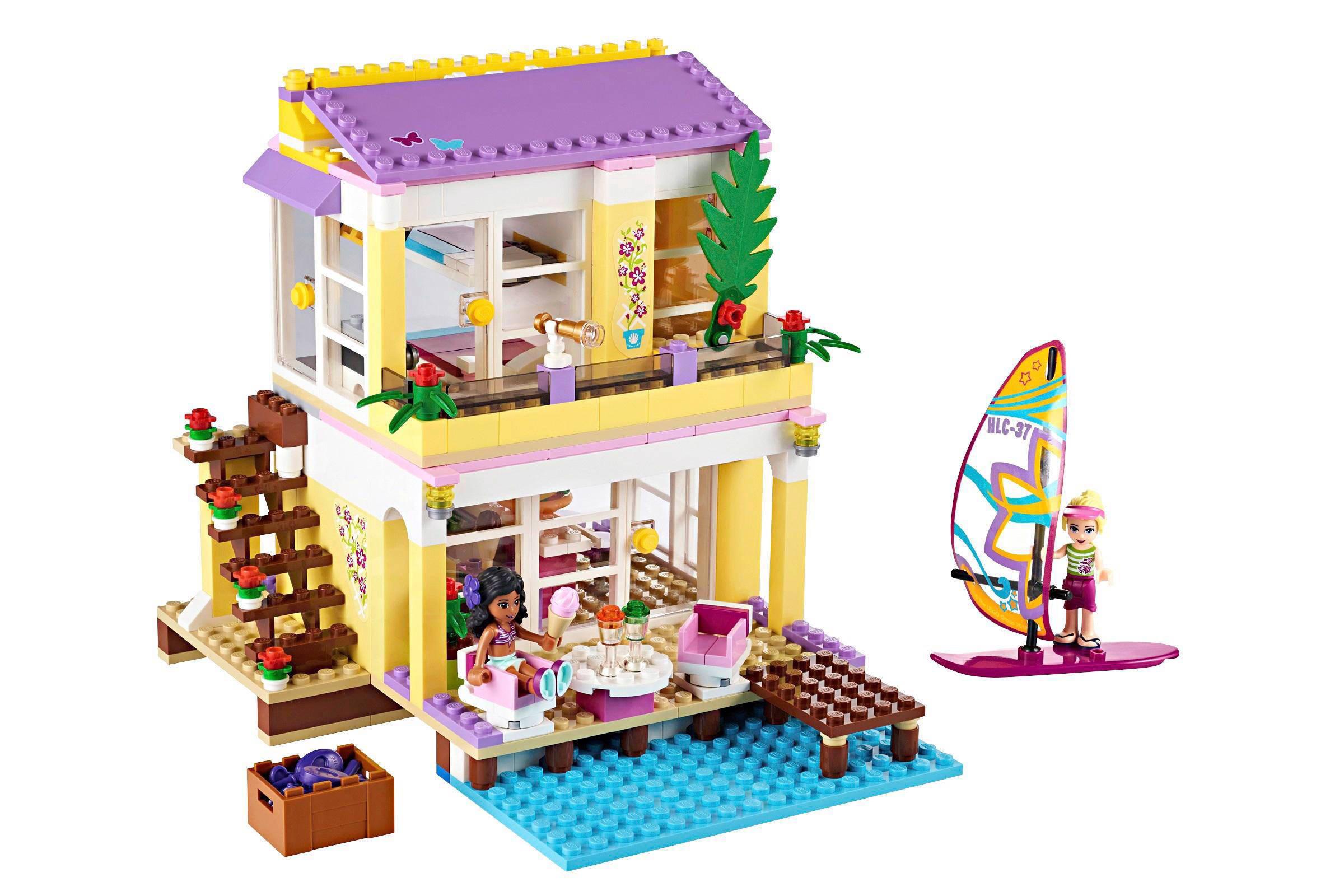 Lego friends strandhuis jetski auto met caravan