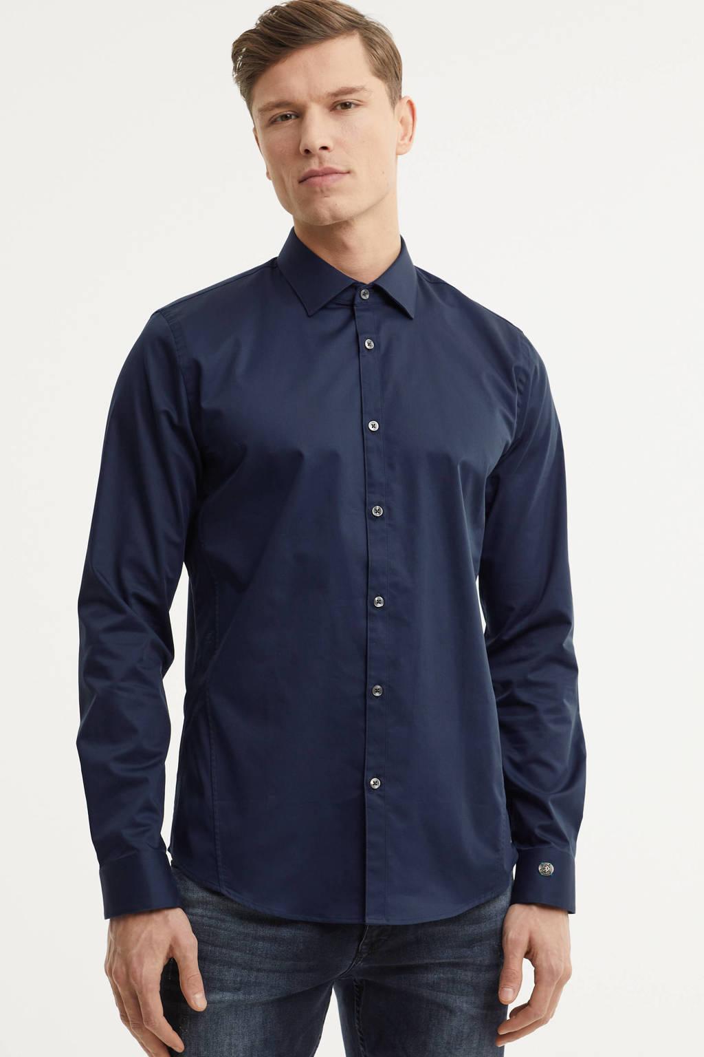 Cast Iron slim fit overhemd, Donkerblauw
