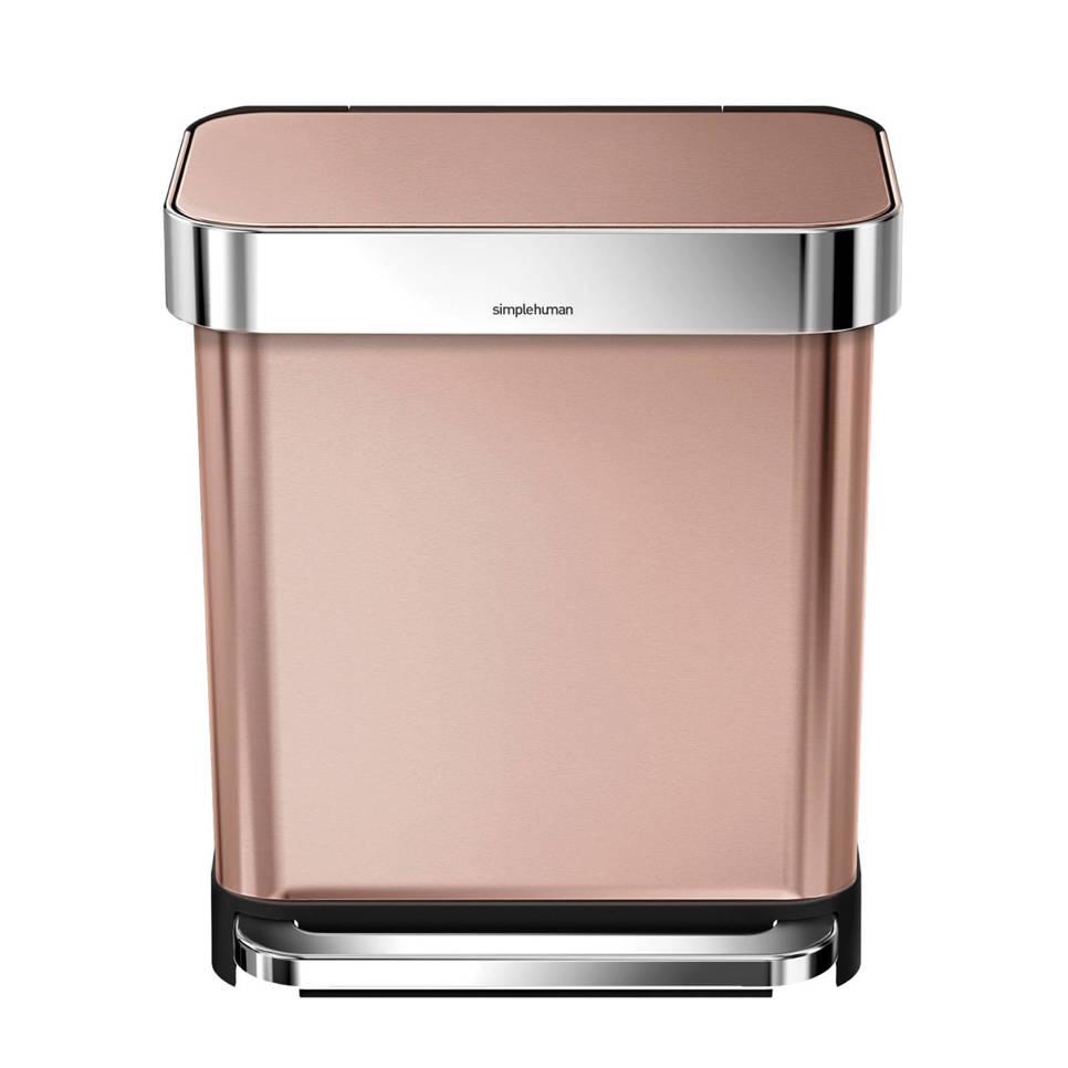SimpleHuman  afvalemmer Rectangular met Liner Pocket rvs, 30 liter, Rosé