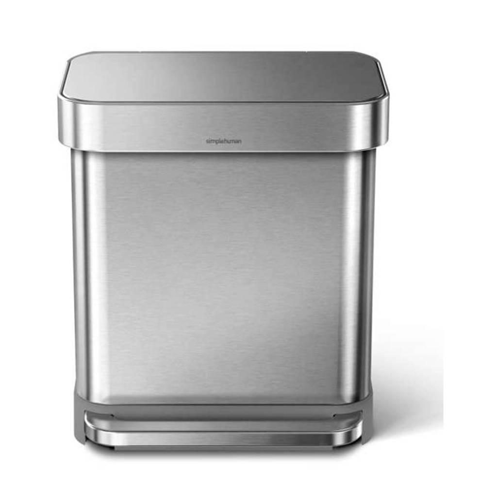 SimpleHuman  pedaalemmer Rectangular met Liner Pocket rvs, 30 liter, RVS