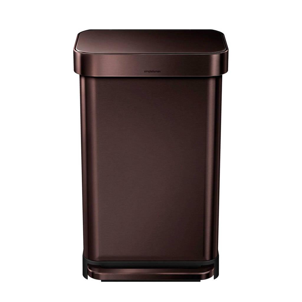 SimpleHuman  pedaalemmer Rectangular met Liner Pocket Rvs 45 liter, Brons