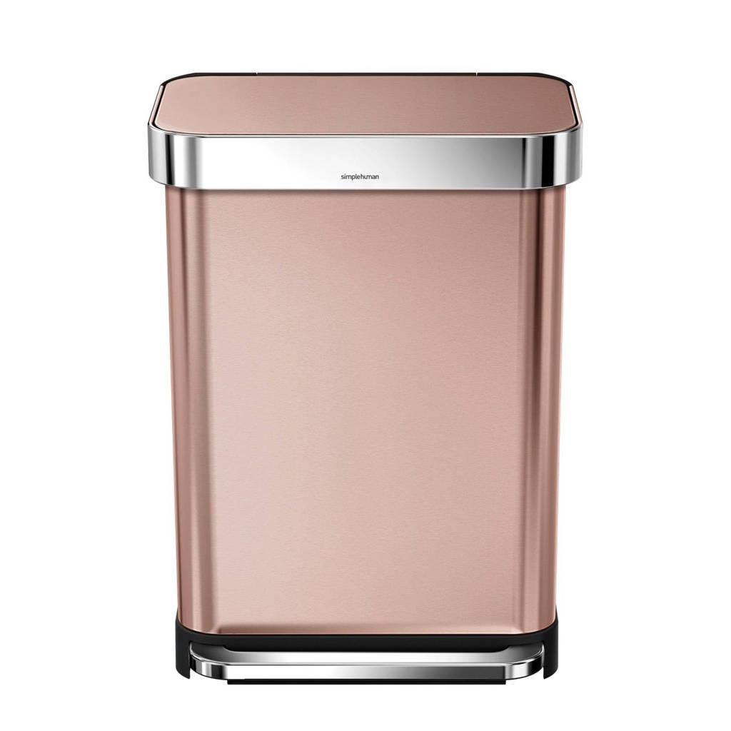 SimpleHuman  Afvalemmer Rectangular met Liner Pocket Rvs 45 liter, Rosé