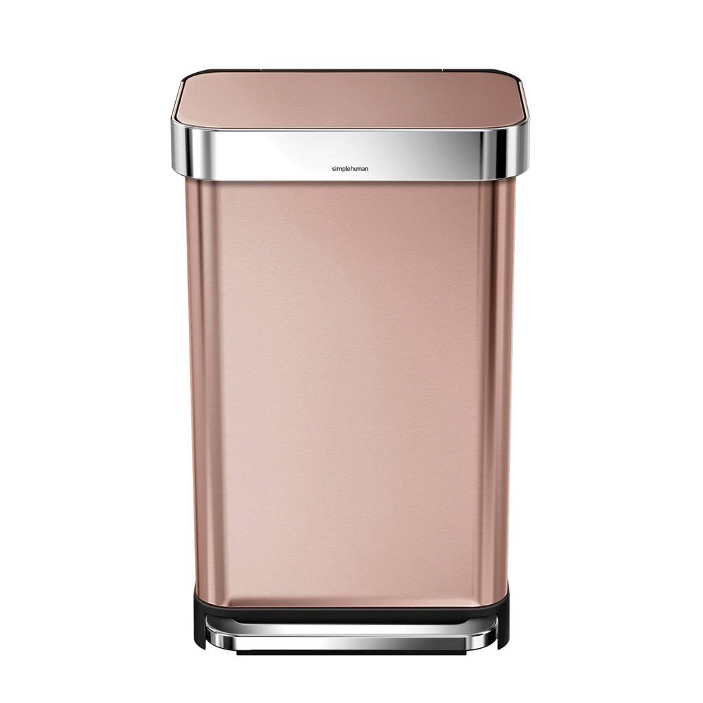SimpleHuman  pedaalemmer Rectangular met Liner Pocket Rvs 55 liter, Rosé