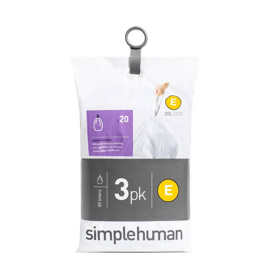 SimpleHuman Afvalzakken Code E 20 liter Pocket Liners Set van 3x20 Stuks