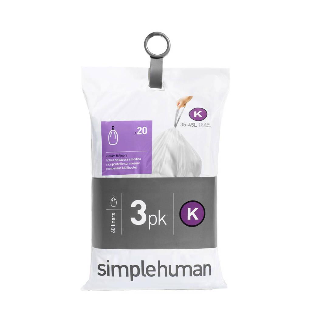SimpleHuman Afvalzakken Code K 38 liter Pocket Liners Set van 3x20 Stuks