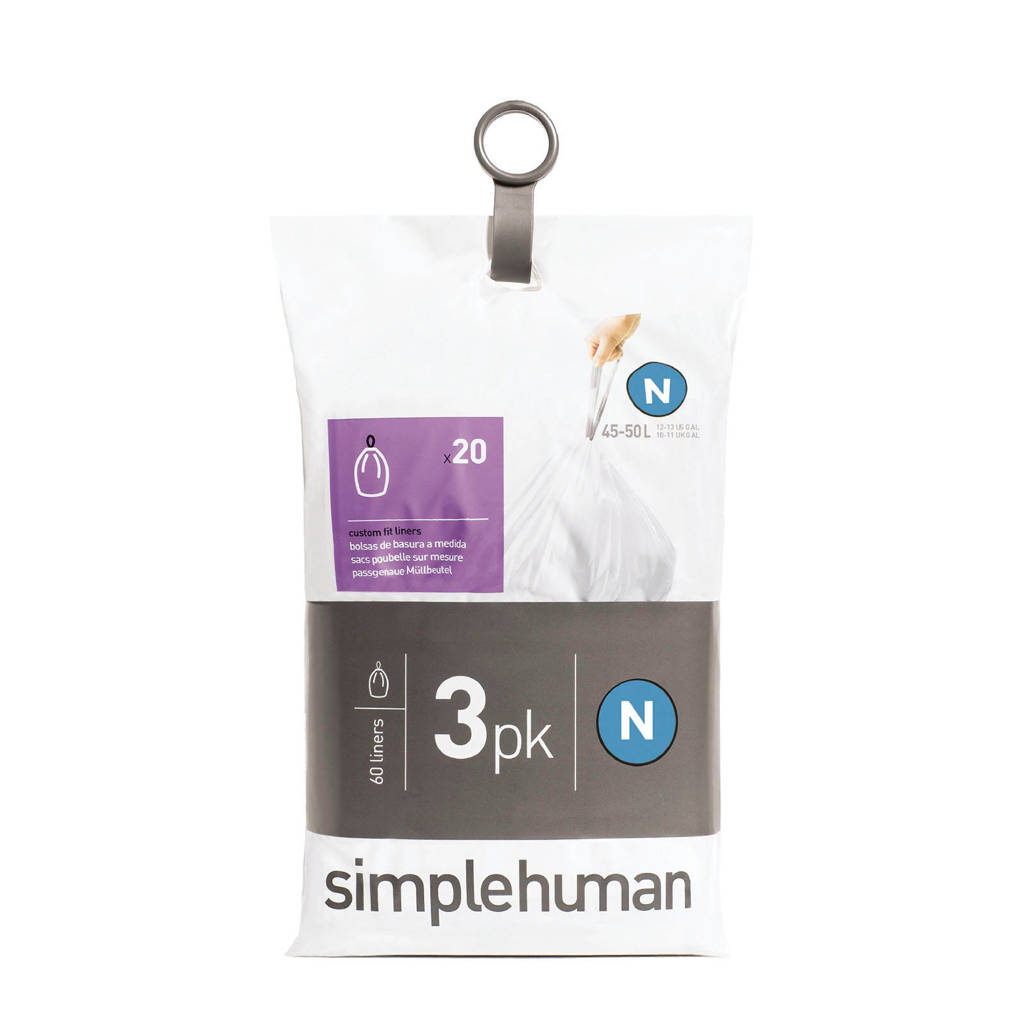 SimpleHuman Afvalzakken Code N 45 liter Pocket Liners Set van 3x20 Stuks
