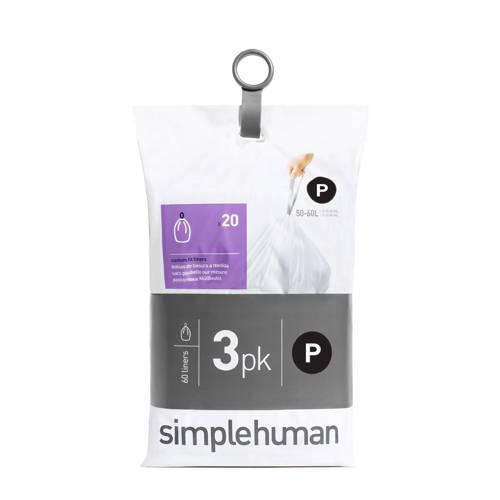 Simplehuman Code P Afvalzak 50-60 L Set van 3 x 20 Wit