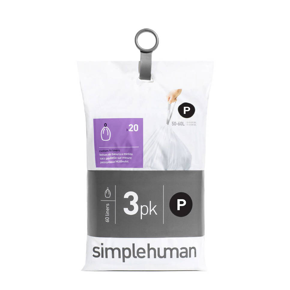 SimpleHuman Afvalzakken Code P 50-60 liter Pocket Liners Set van 3x20 Stuks