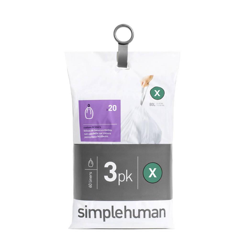 SimpleHuman Afvalzakken Code X 80 liter Pocket Liners Set van 3x20 Stuks