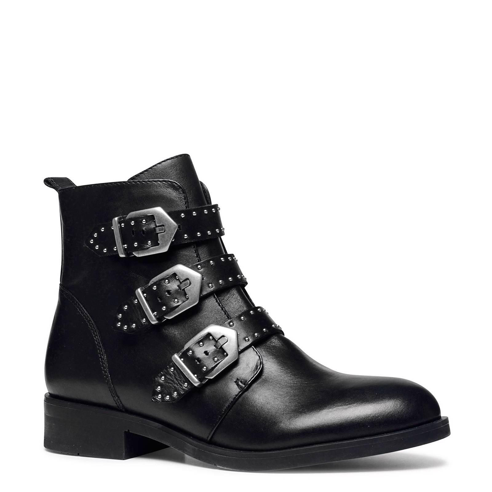 zwart leer ankle laarzen with studs