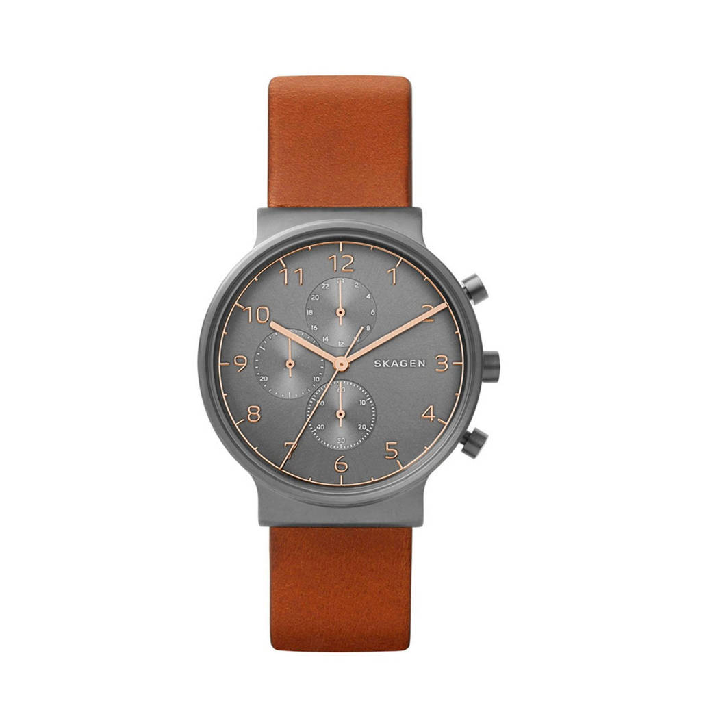 Skagen chronograaf horloge, Zwart/gunmetal