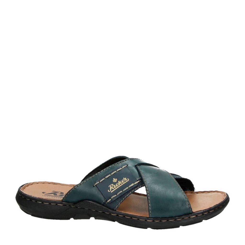 Rieker   leren slippers, Donkerblauw