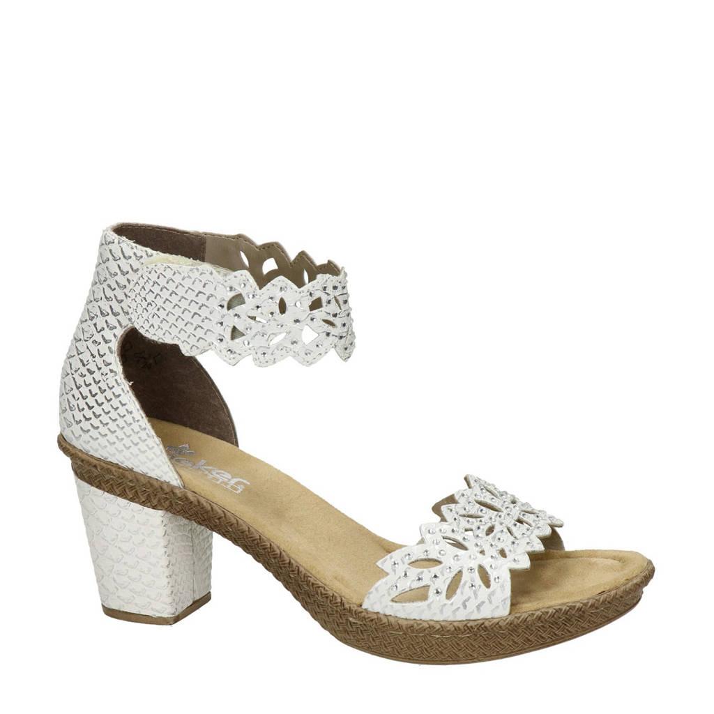 Rieker sandalettes met sierstenen, Wit/zilver