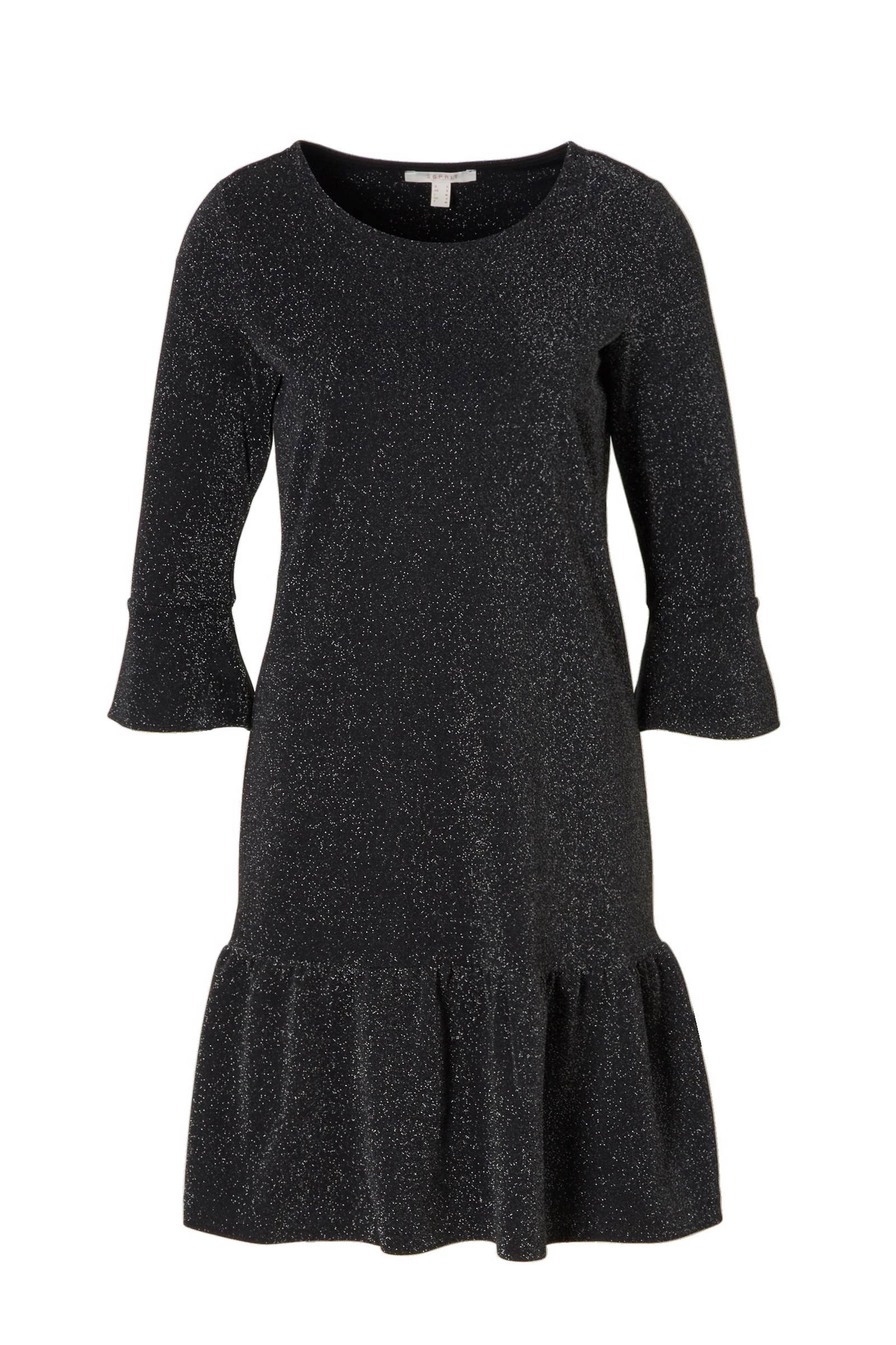 ab354162d0fae1 ESPRIT Women Casual glitter jurk met ruches