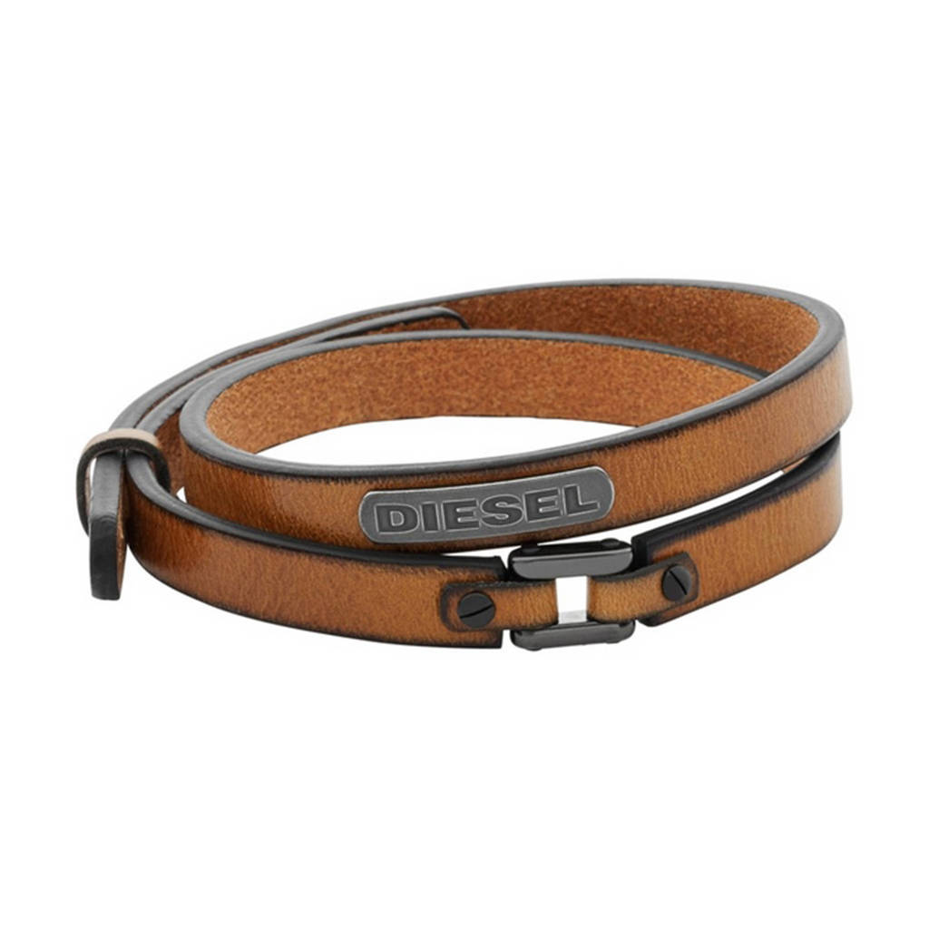 Diesel heren armband Coiled DX984040, Donkerbruin