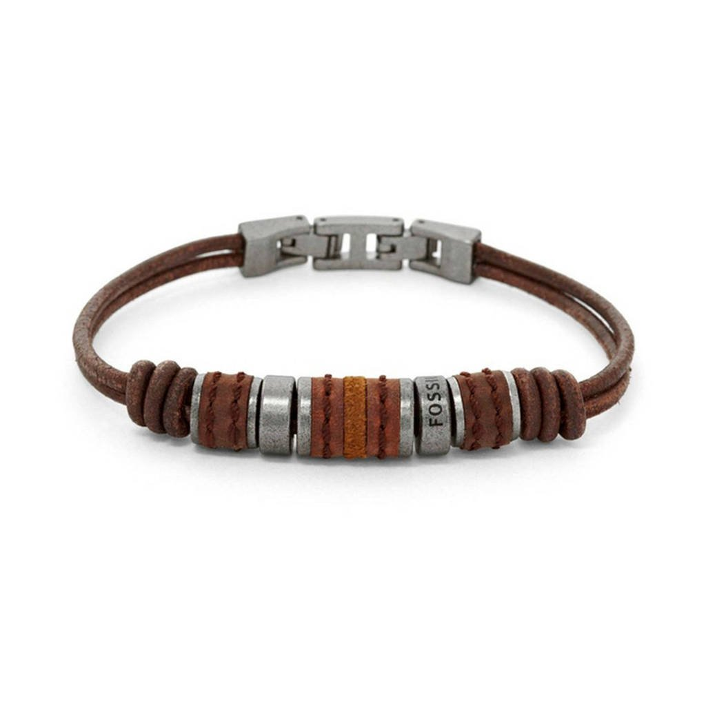 Fossil Vintage Casual Heren Armband JF00900797, Bruin, Zilver