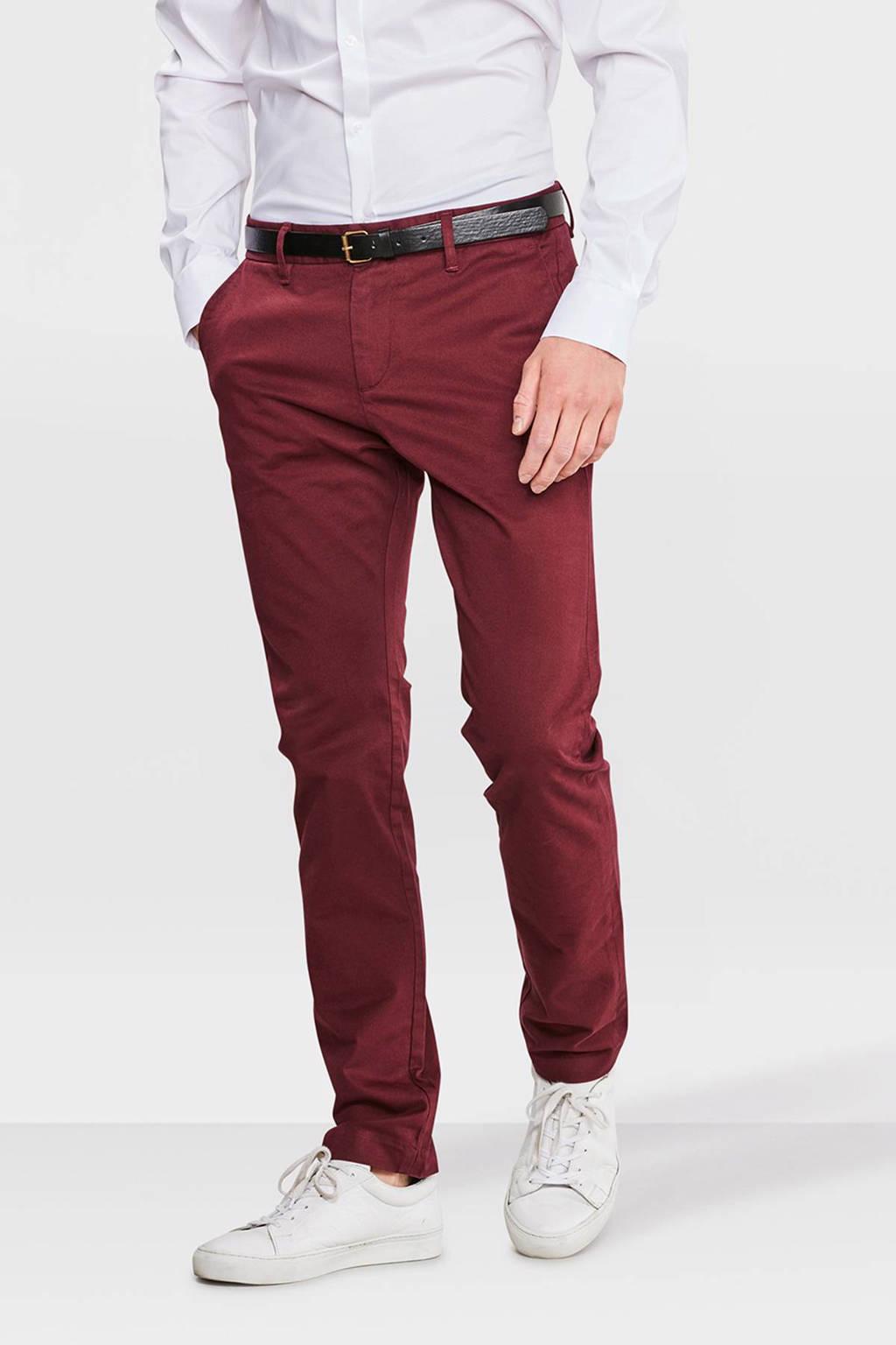 WE Fashion Blue Ridge Bobby skinny fit chino donkerrood, Donkerrood