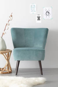 whkmp's own fauteuil Coco velours, Vergrijsd turquoise