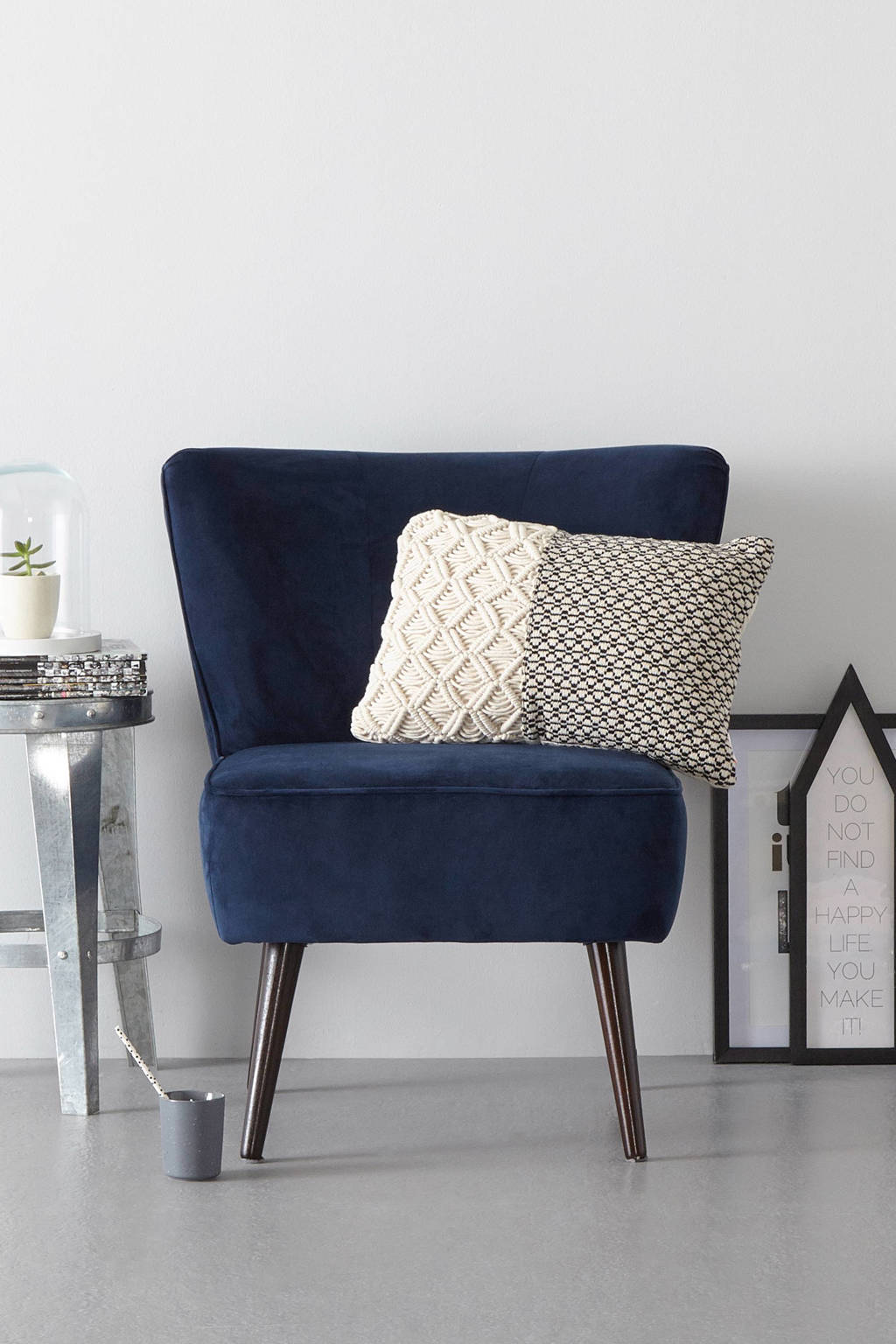 Wehkamp Home fauteuil Coco velours, Donkerblauw