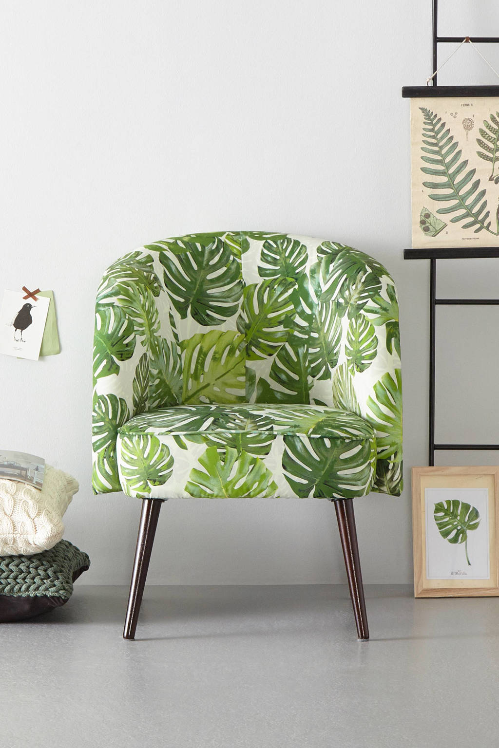 whkmp's own fauteuil Marilyn velours, Blad print (groen)