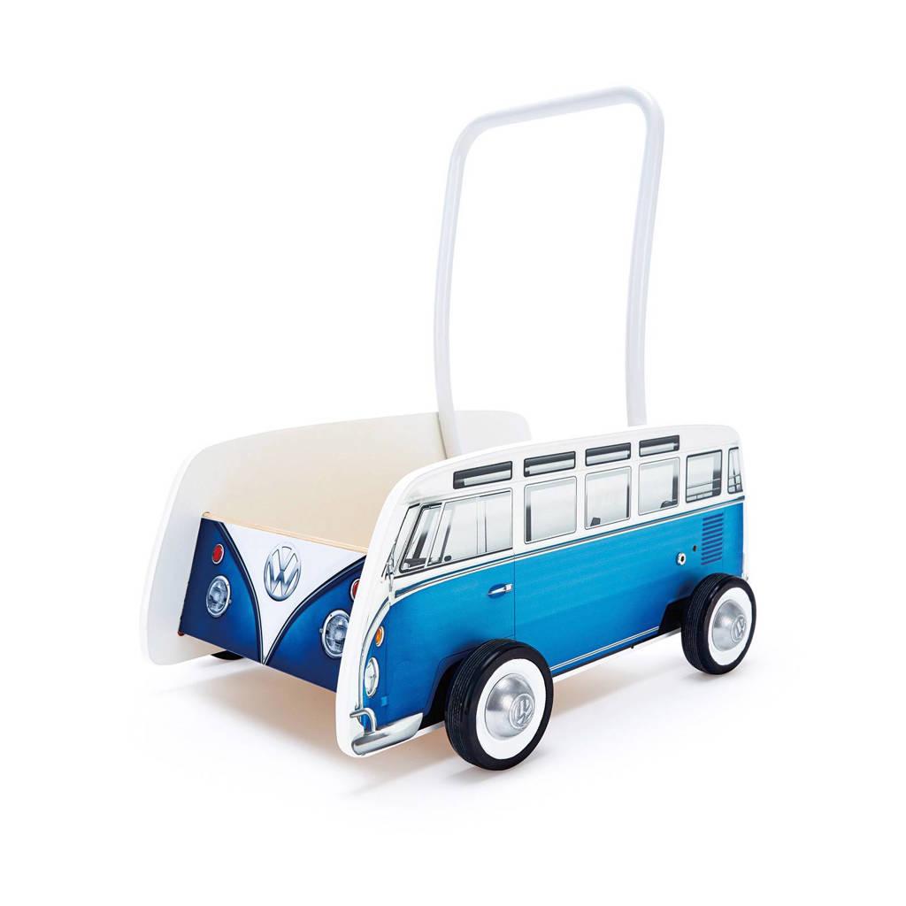 Hape houten Volkswagen T1 loopwagen, Blauw