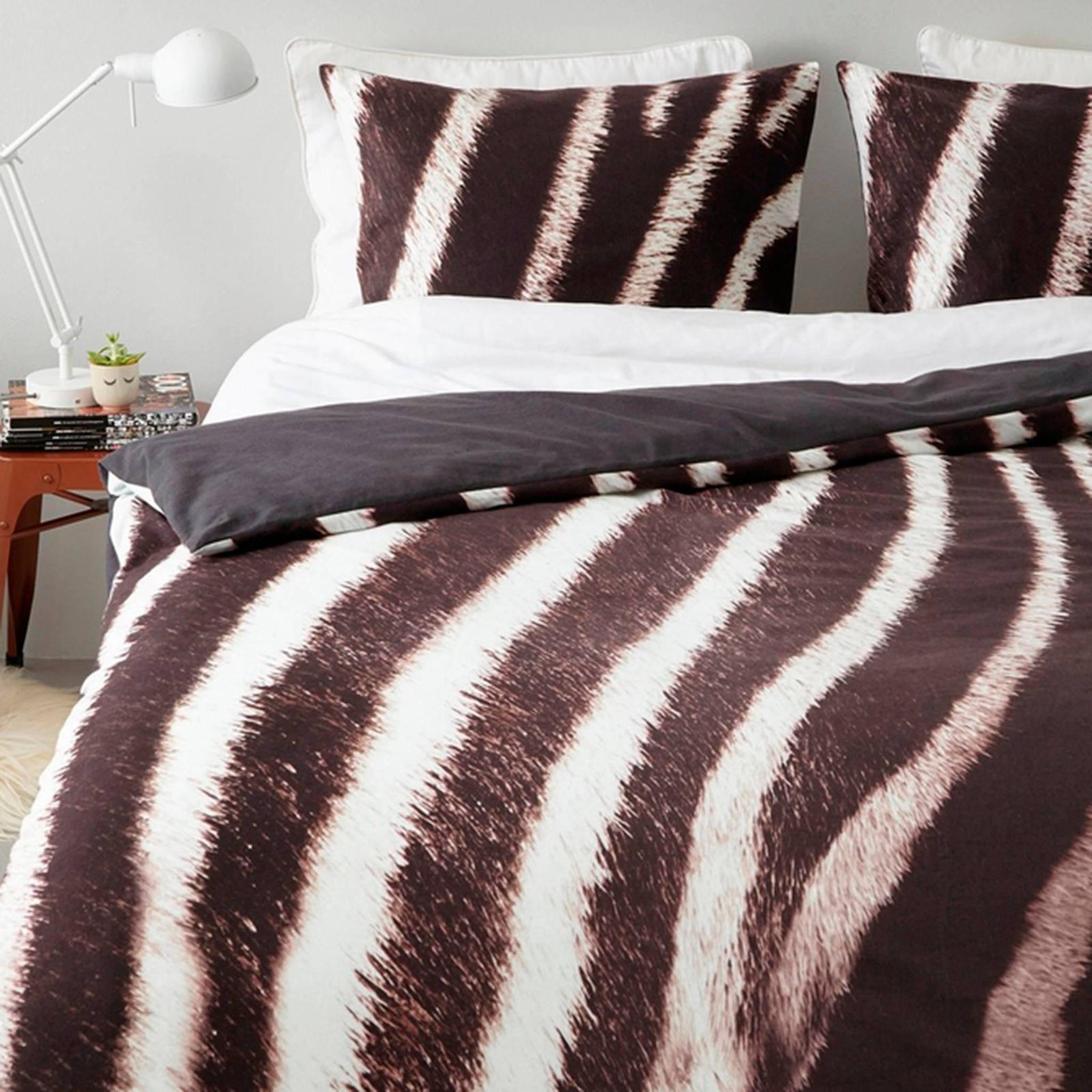 essenza flanellen dekbedovertrek lits jumeaux bruin