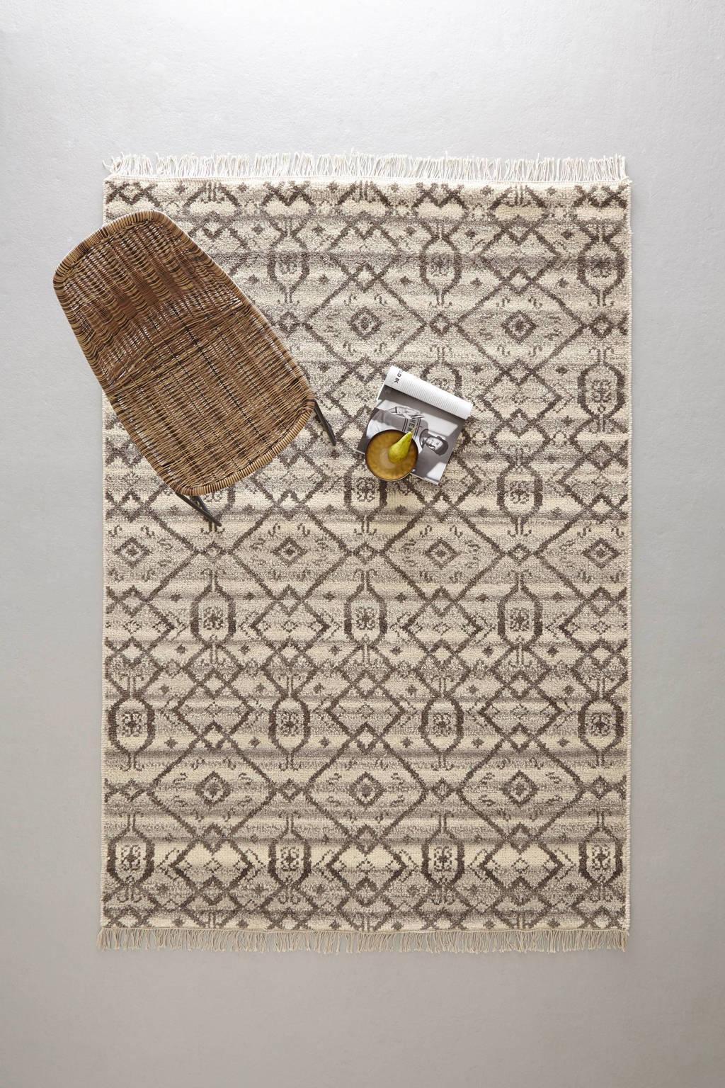 whkmp's own vloerkleed (wol)  (230x160 cm), Ecru/bruin