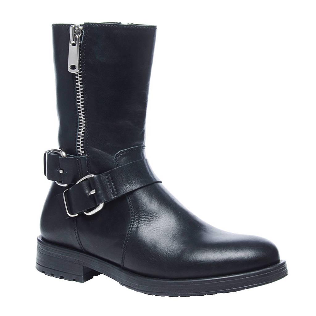 Sacha korte leren laarzen, Zwart