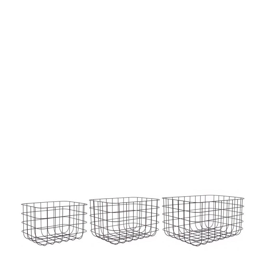 pt, manden Grid (set van 3), Zwart