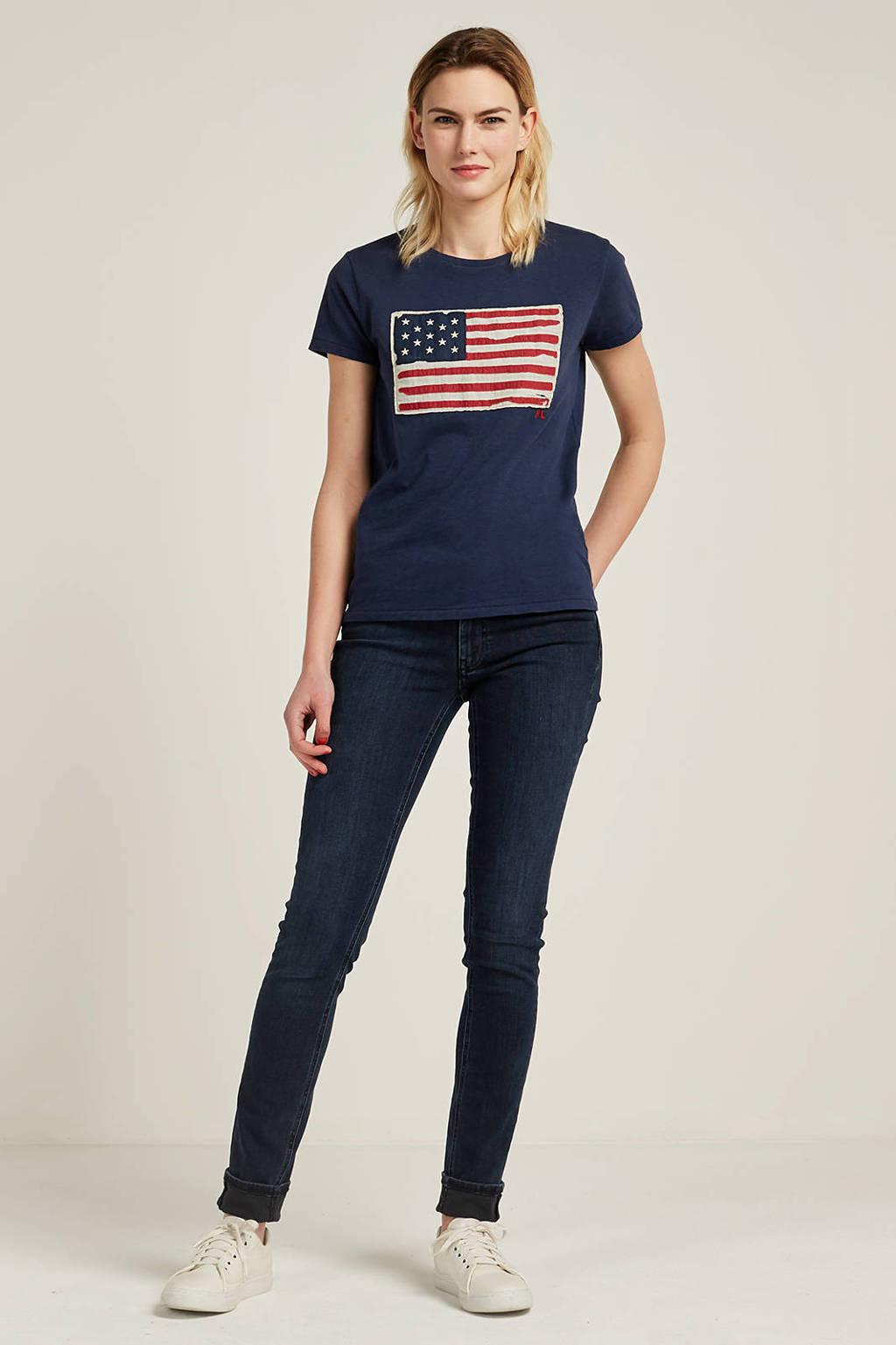POLO Ralph Lauren T-shirt, Donkerblauw/ecru/rood