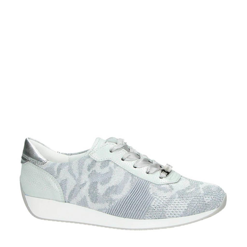 Ara  Fushion 4 sneakers met leer, Lichtgrijs/zilver