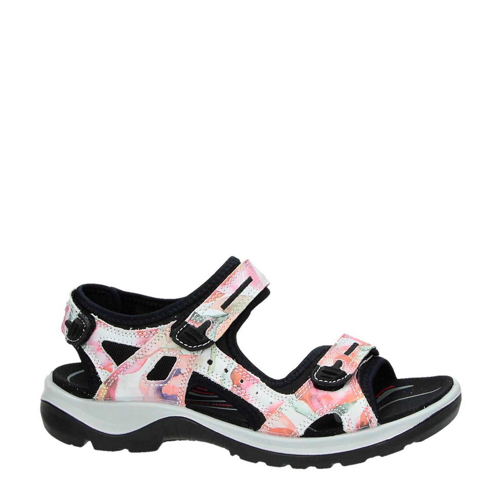 Ecco Offroad leren sandalen met bloemen | wehkamp
