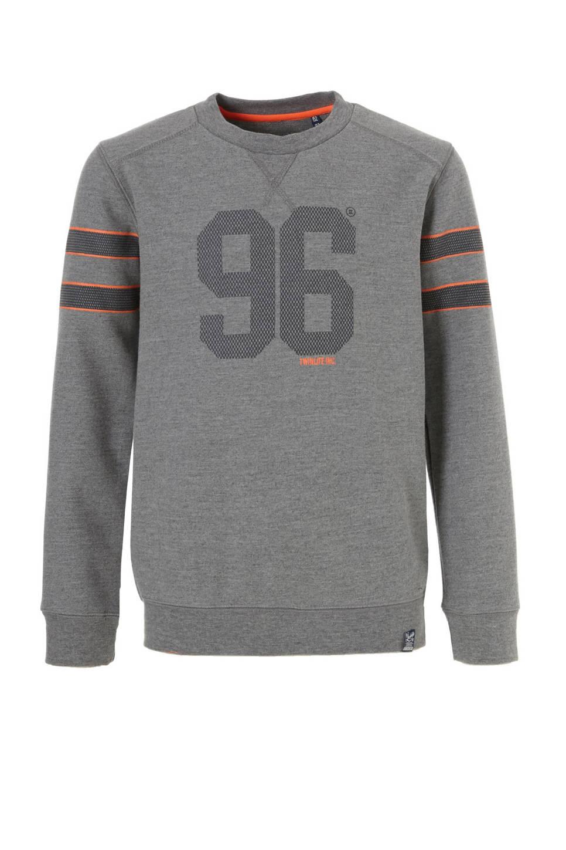 Twinlife sweater, Grijs melange/donkergrijs/neon oranje