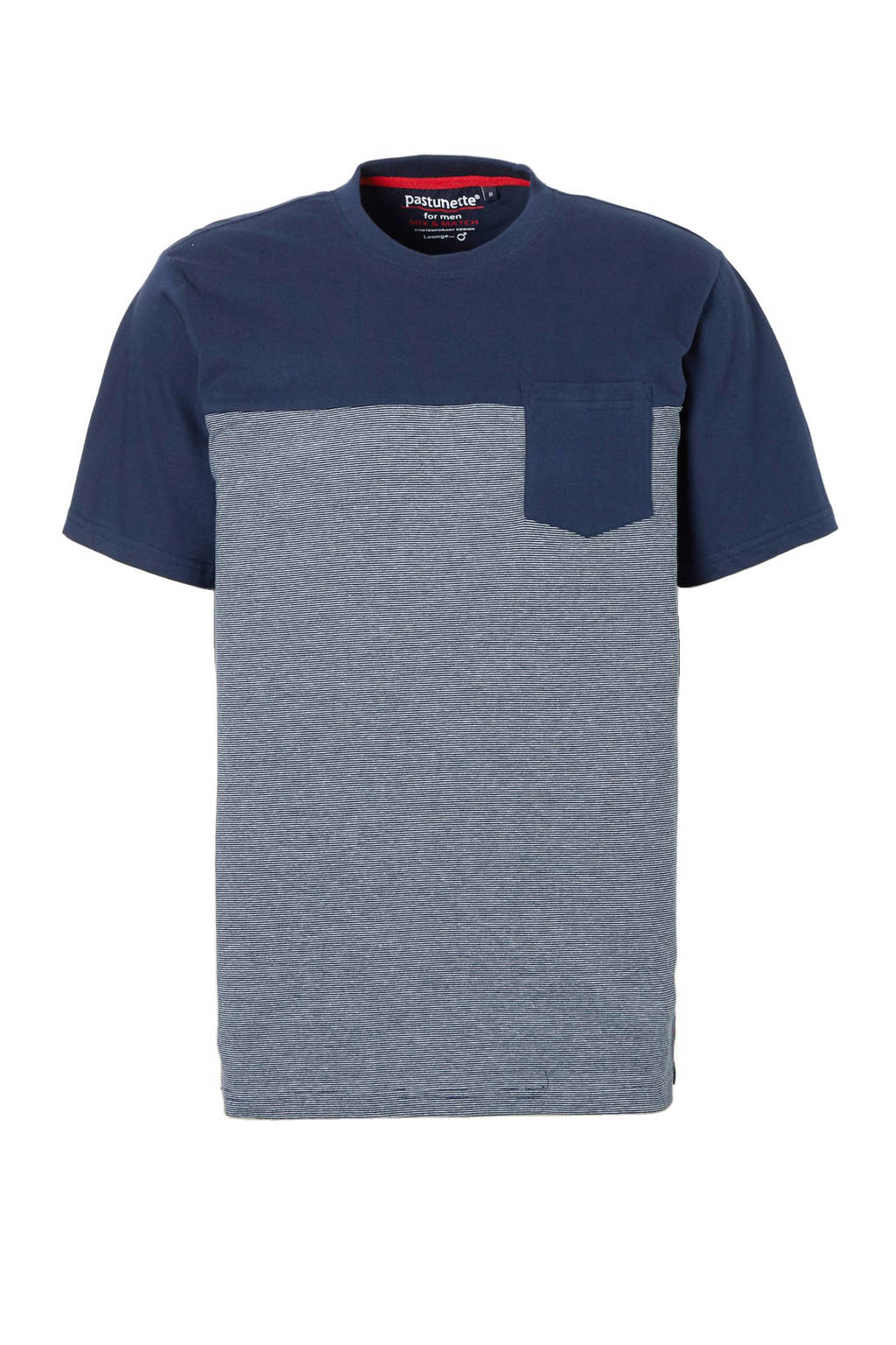 Pastunette for men pyjamatop, Marine/wit