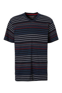 Pastunette for men gestreepte pyjamatop marine/wit/rood, Marine/wit/rood